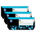 HP 91 3-PACK 775-ML YELLOW INK CARTRIDGES (C9485A)